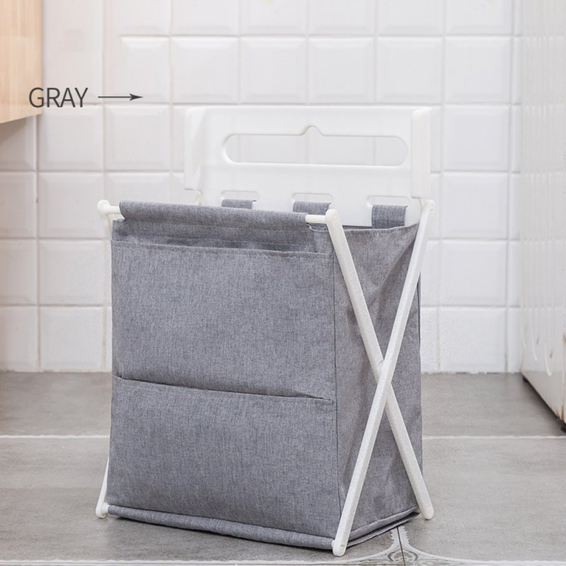 1pc Foldable Oxford Cloth Storage Basket for Home Bathroom Laundry Organize light grey_35 * 30 * 19cm