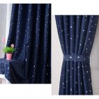 1pc Heat Insulation Shading Partition Curtain Star Pattern Sky Blue 130*150 cm navy