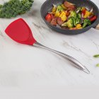 1pc Thicken Heat Resistant Stainless Steel Handle Non-stick Silicone Pot Shovel red
