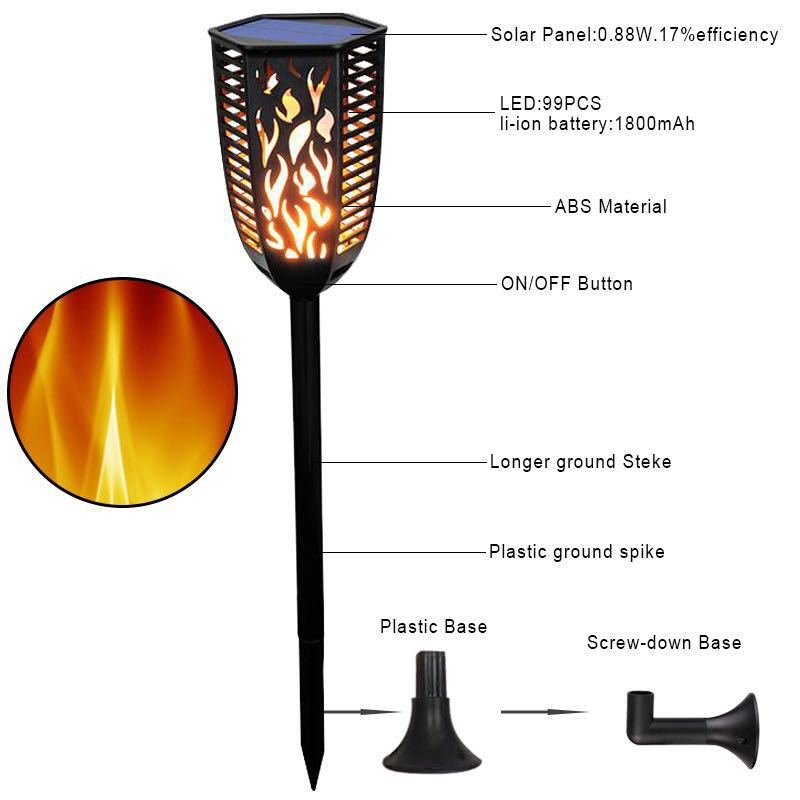 1pc Torch Light 99 LED Party Light Solar Power Waterproof Design for Outdoor Garden Courtyard Decoration  Three installation methods