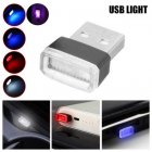 1pcs Universal Mini USB LED Wireless Car Interior Lighting Atmosphere Light Foot Lamp ice blue