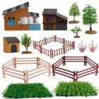 1set Of Desktop Scene Decorations Simulation Micro-landscape Farm Model Decoration House tree set