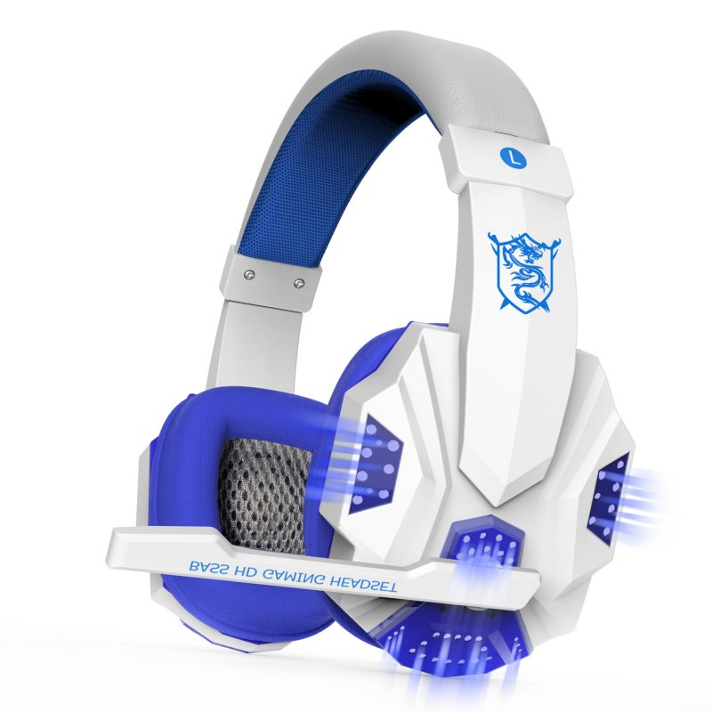 2.2M PC780 Gaming Headsets with Light Mic Stereo Earphones Deep Bass for PC Computer Gamer Laptop White blue glow