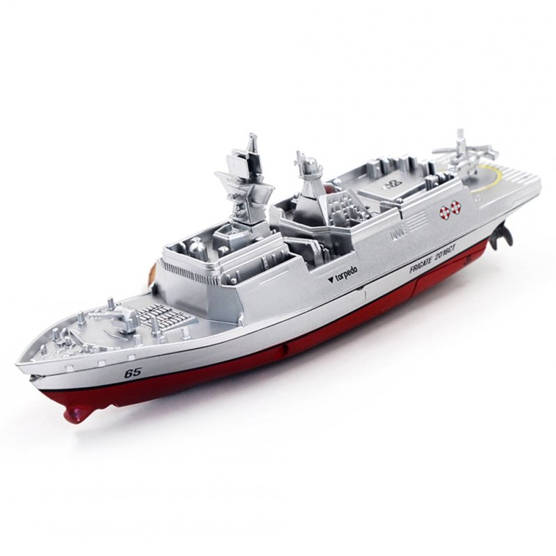 2.4G Remote Control Military Warship Model Electric Toys Waterproof Mini Aircraft Carrier/Coastal Escort Gift for Kids  Silver coastal escort