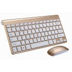 2.4G Wireless Keyboard Mouse Set Mini Multimedia Keyboard Mouse Combo Set for Notebook Laptop Mac Desktop PC  Gold