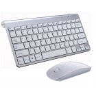 2.4G Wireless Keyboard Mouse Set Mini Multimedia Keyboard Mouse Combo Set for Notebook Laptop Mac Desktop PC  Silver gray