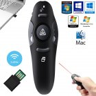 2 4G Wireless PowerPoint Presentation Remote Control Clicker USB Electric Teaching Pen  black