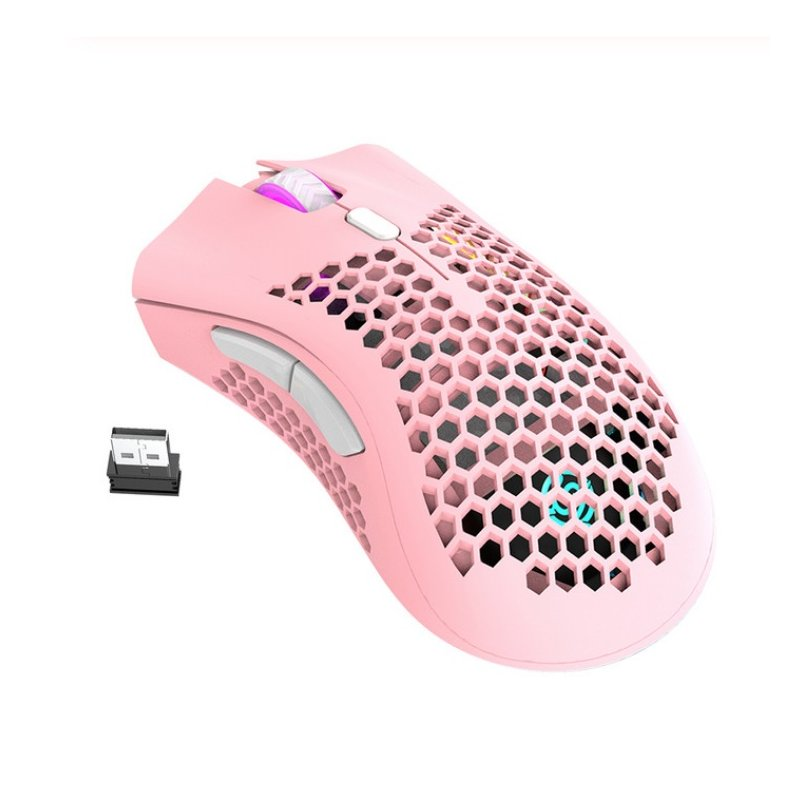 2.4GHz Wireless Mouse USB Rechargeable 1600DPI Adjustable Hollow Out Honeycomb RGB Optical Mouse Gamer Mice Pink