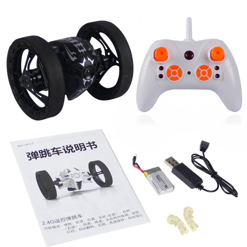 2.4Ghz Wireless Bounce Car with Remote Control LED Double Sided Tumbling High Speed Rotating  black