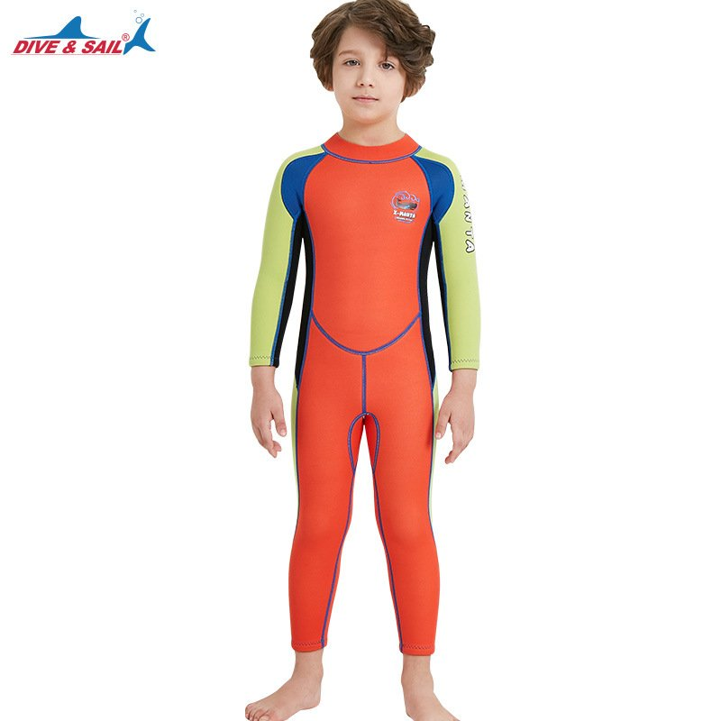 2.5mm Children's High Elastic Scuba Diving Suit Long Sleeve Bathing Suit Orange red and green sleeves_XL