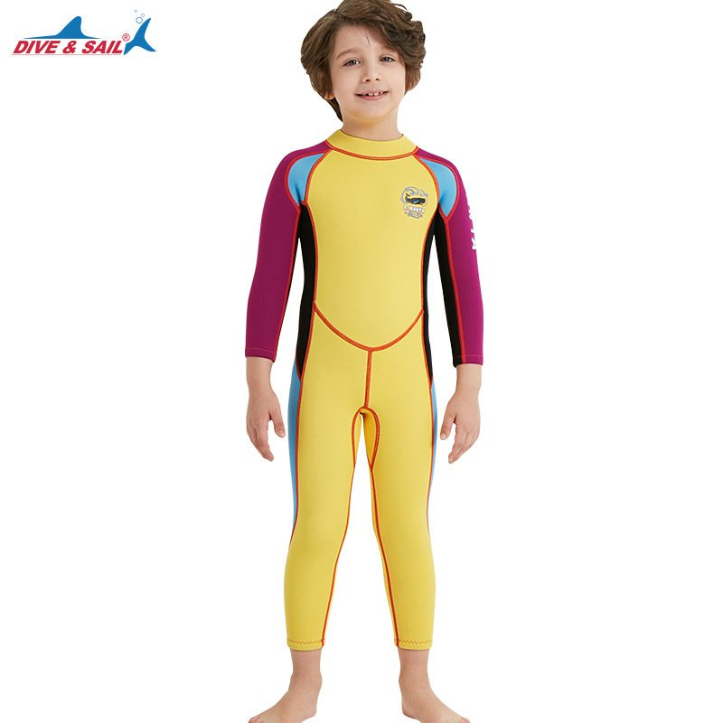 2.5mm Children's High Elastic Scuba Diving Suit Long Sleeve Bathing Suit Yellow purple sleeve_M