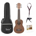 21inch Sapele Ukulele Hawaiian Small Guitar 4-string Ukulele Heart-shaped Sound Hole Musical Instrument Wood color