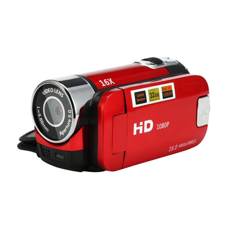 2.7 inch LCD Screen 16X Digital Zoom Video Camcorder HD Handheld Digital Camera  red US plug