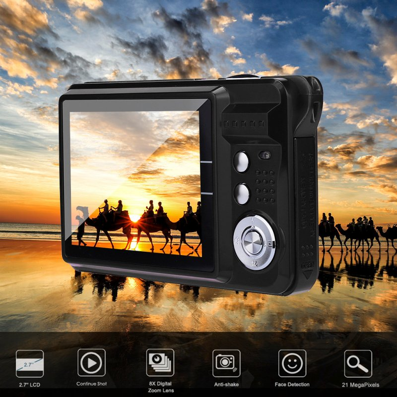 2.7HD Screen Digital Camera 21MP Anti-Shake Face Detection Camcorder  Silver