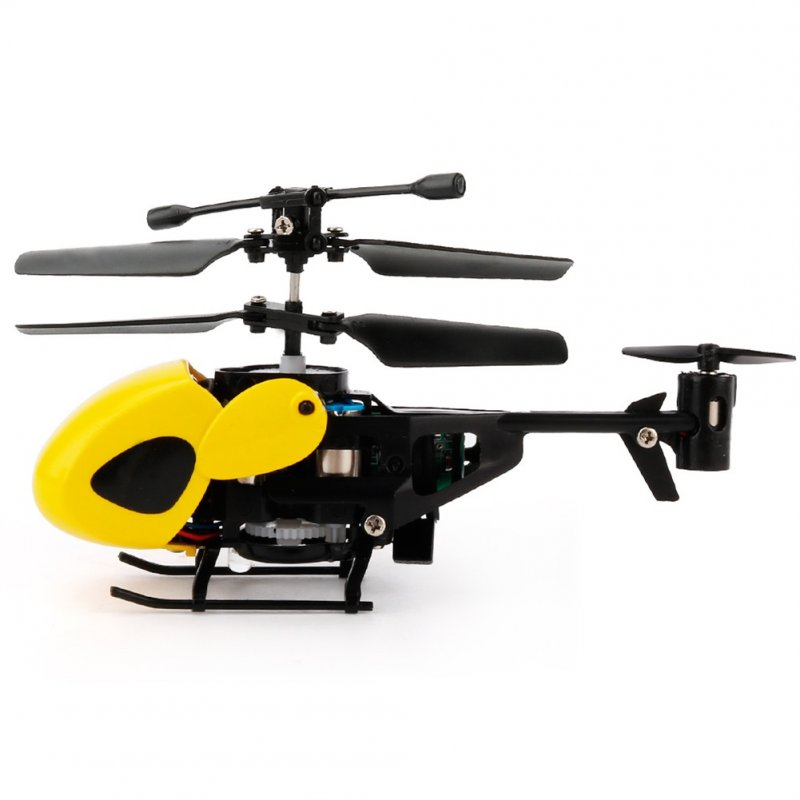 2 Channels Infrared Handle Remote-controlled Helicopter with Gyroscopes Mini Airplane Model Cartoon Intellectual Toy yellow