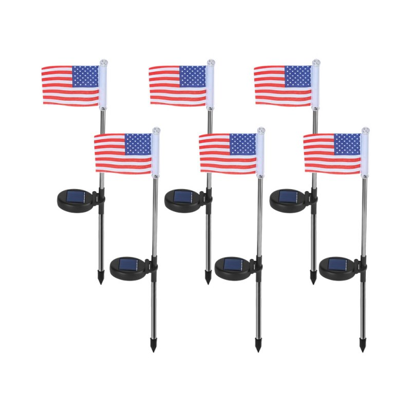 2 PCS LED Solar Ground Flag Light Waterproof Garden Decoration Cool Courtyard Lawn Light American flag