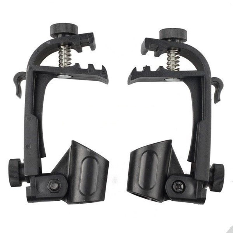 2 Pcs Adjustable Clip On Drum Rim Shock Mount Microphone Mic Clamp Holder  black