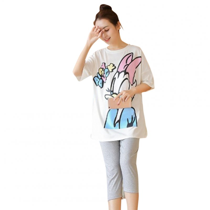 2 Pcs /Set Maternity Suit Printed Short Sleeved Top Stomach Lift Pregnant Women Leggings white_L
