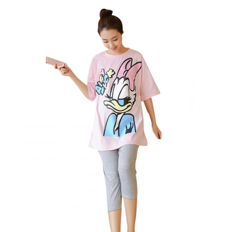 2 Pcs /Set Maternity Suit Printed Short Sleeved Top Stomach Lift Pregnant Women Leggings Pink_L