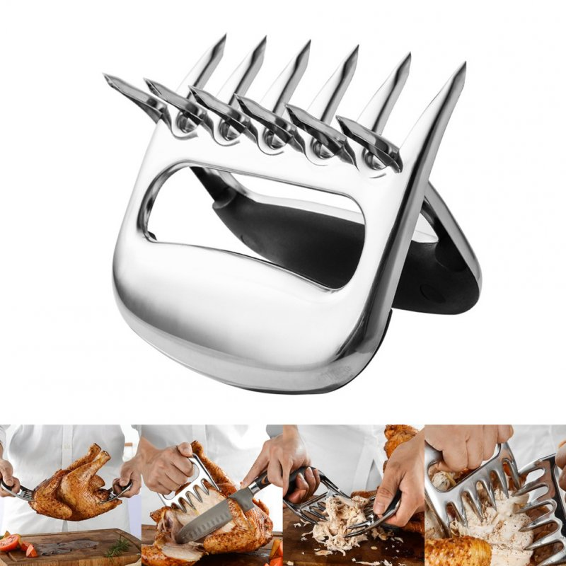 2 Pcs/Set Stainless Steel Bear Claw Meat Divided Tearing Multifunction Shred Pork Clamp BBQ Tool 2