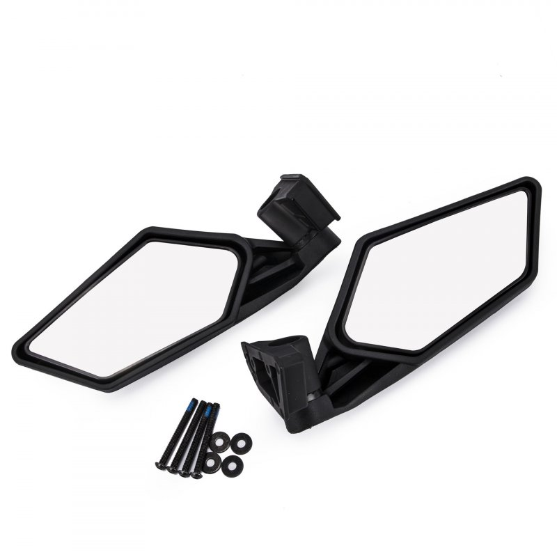 2 Pcs UTV Heavy Duty Rear View Mirror for UTV Polaris RZR Can Am Maverick X3 2017 2018 black