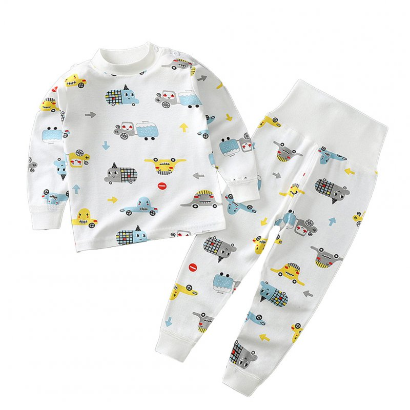 2 Pcs/set Children's Underwear Set Cotton Long-sleeve Top + High-waist Belly-protecting Pants for 0-4 Years Old Kids White _90