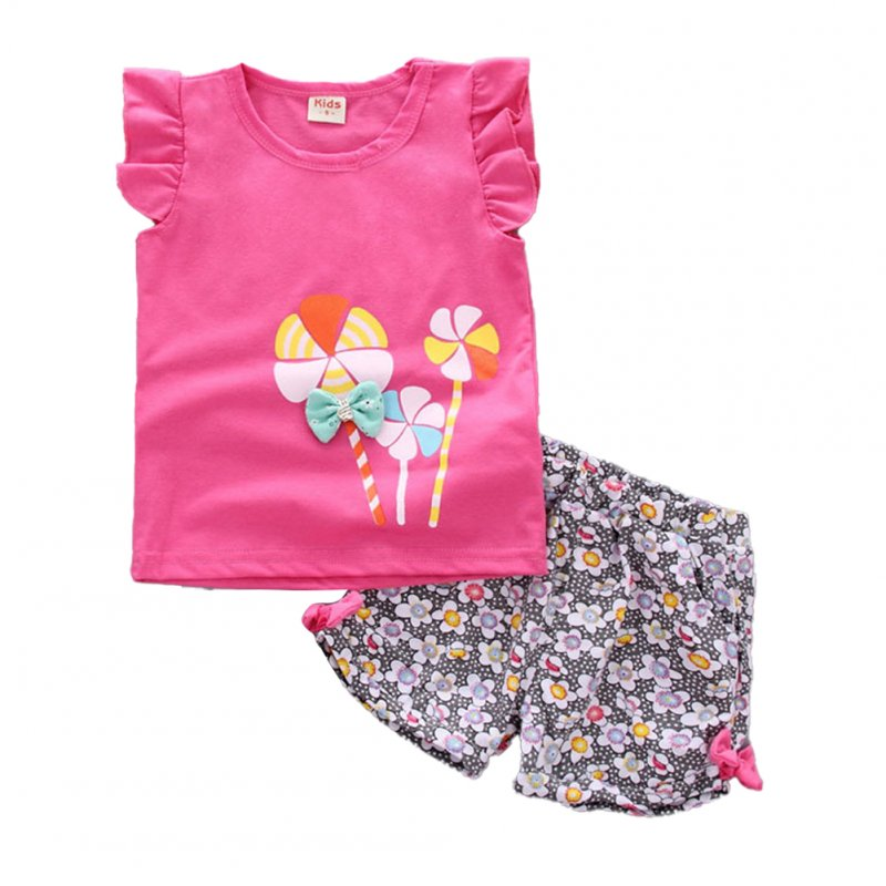 2 Pcs/set Girls Suit Cotton Windmill Printing Vest   Shorts for 0-3 Years Old Kids Rose red_80cm