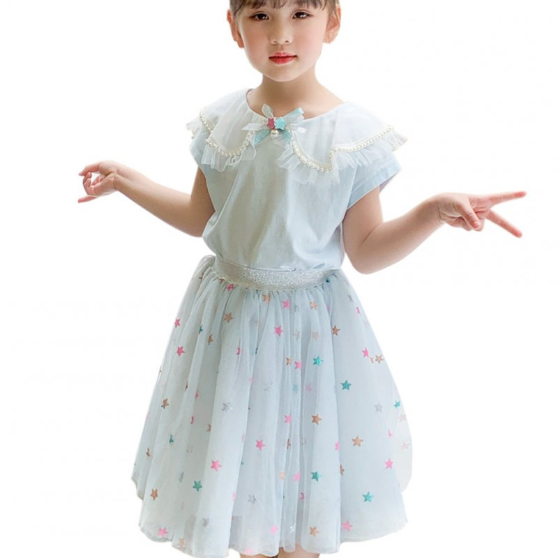 2 Pcs/set Girls Suit Lapel Short-sleeve Top + Star Mesh Skirt for 3-8 Years Old Girls Light blue_110cm