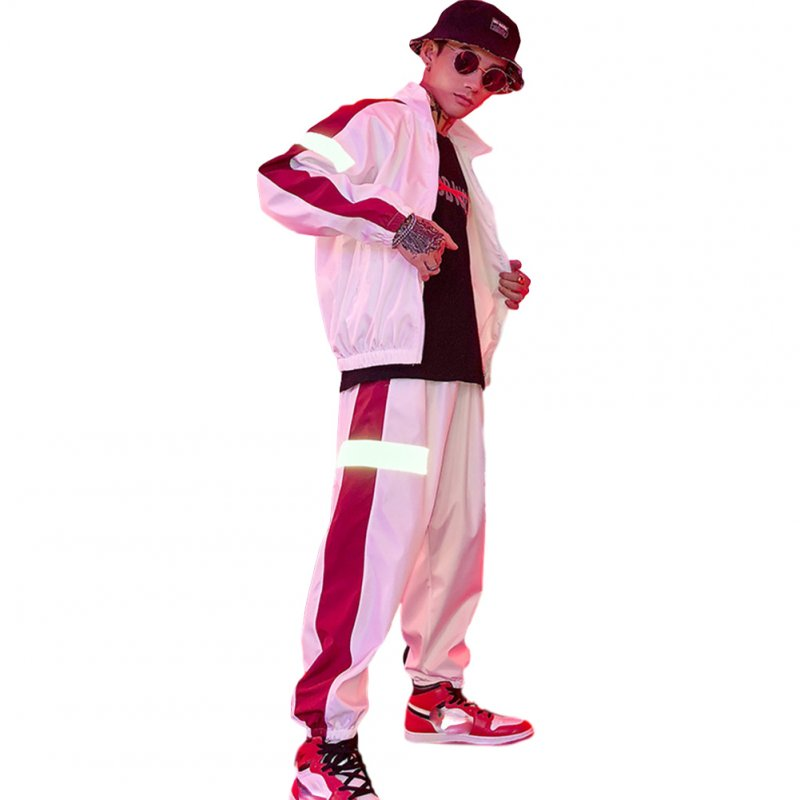 2 Pcs/set Men's and Women's Sports Suits Hip-hop Reflective Jackets+pants Sports Suits white_XXXL