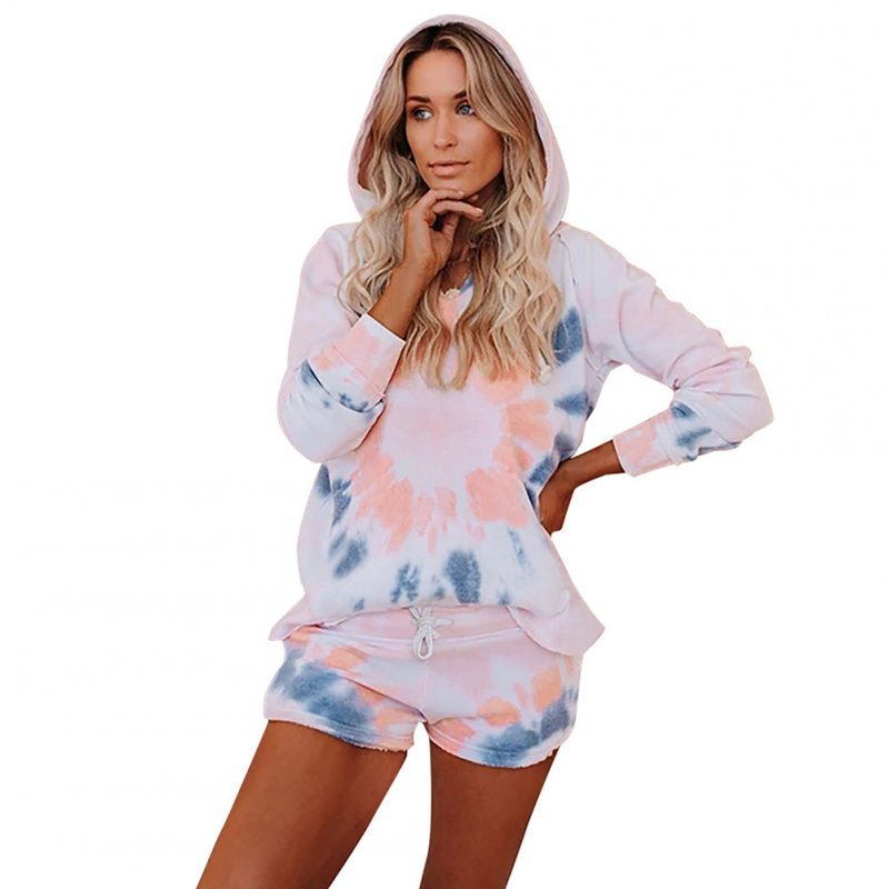2 Pcs/set Women' S Houseware Set Autumn and Winter Leisure Tie-dye Long-sleeve Hoodie & Shorts Red blue_S