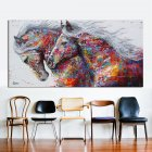 2 Running Horse Wall Art Picture Canvas Oil Painting Animal Print for Living Room Home Decor 60X120cm