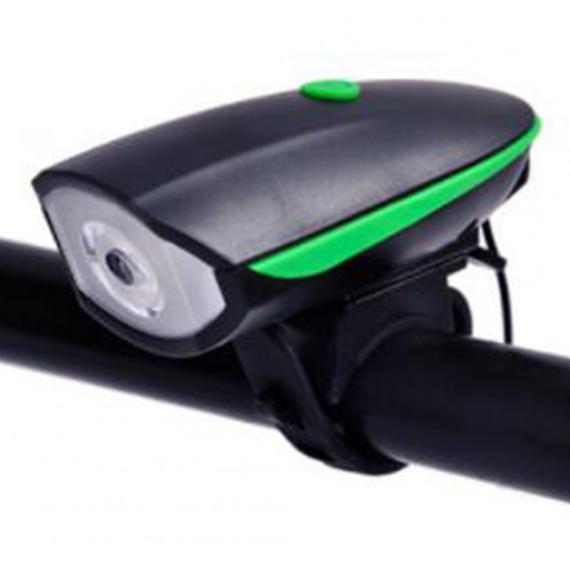 2 in 1 Bike Light LED Flashlight with Bell Horn Road Cycling Headlight Bicycle Accessories Battery green
