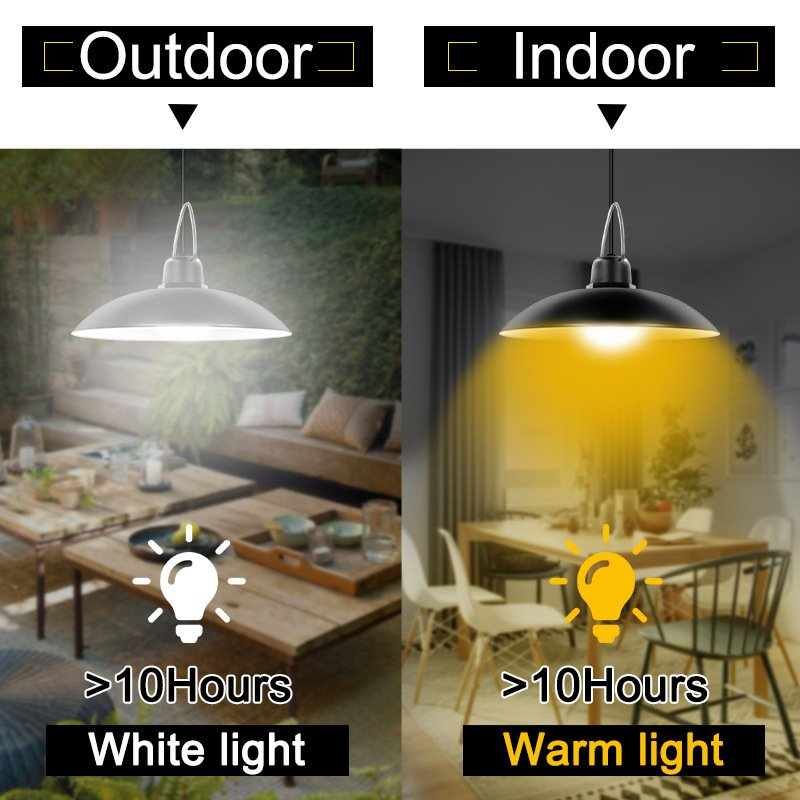 2 in 1 Garden Solar Light Retro Bulb Chandelier Solar Powered Pendant Lights for Hanging Lighting Black Shell