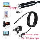 2 in 1 HD Waterproof 6LEDs 7/8mm Micro USB Android Endoscope Inspection Camera  7mm