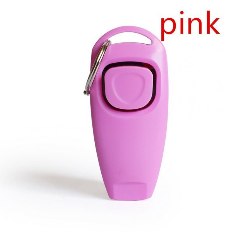 2 in 1 Multi-function Pets Clicker Whistle Dog Trainer Clicker with Keyring Pet Puppy Trainer Dog Flute + Clicker Pink