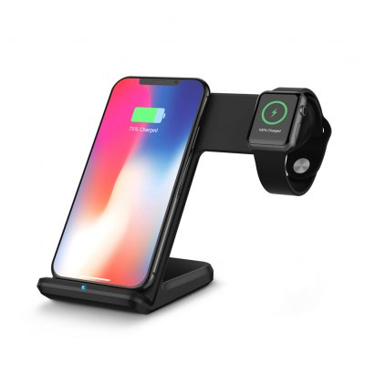 2-in-1 Qi Wireless Fast Charger Blcak