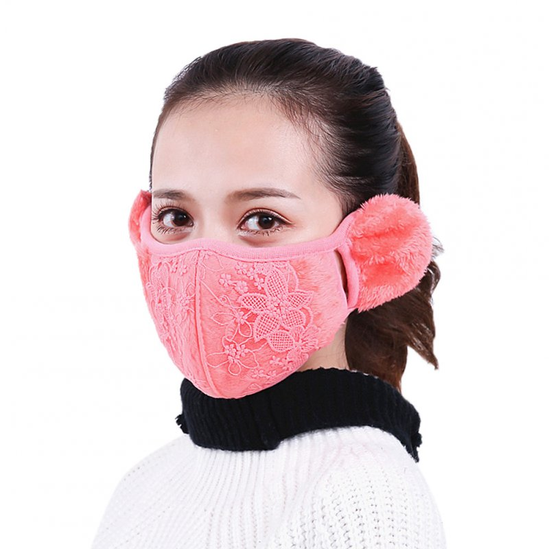 2 in 1 Unisex Warm Ear Cover + Dust-proof Mask Perfect Wear Accessory for Winter watermelon red