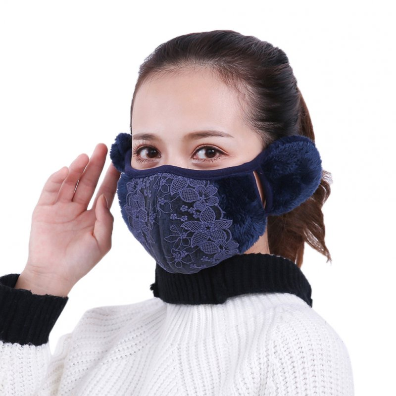 2 in 1 Unisex Warm Ear Cover + Dust-proof Mask Perfect Wear Accessory for Winter Navy