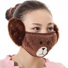 2 in 1 Unisex Winter Ear Warmers Mask Adjustable Plush Lovely Funny Ear Muffs coffee