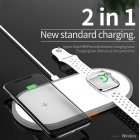 2-in-1 Wireless Charger for Apple iPhone/iWatch/AirPods Safety and Fast Charging Portable Charger Travel Power Supply white