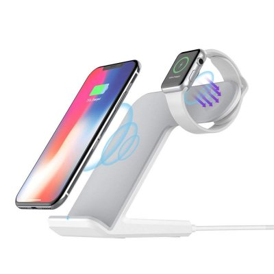 2 In 1 Wireless Charging For Apple Watch Qi Fast Wireless Charger Dock Stand For Phone White