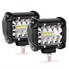 2 pcs 4 Inch 200W LED Work Light Bar Pods Flush Mount Combo Driving Lamp 12V black