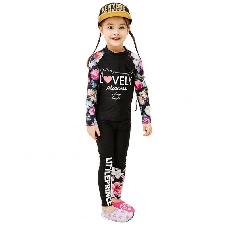 2 pcs/set Kids Girls Boys Long-sleeved Swimming Suit Muslim Style Swimsuit black_XXXXL