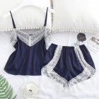 2 pcs/set Women's Sleepwear Sexy Satin Lace V-neck Pyjama Suit Sleeveless Camisole Top + Shorts Navy blue_S