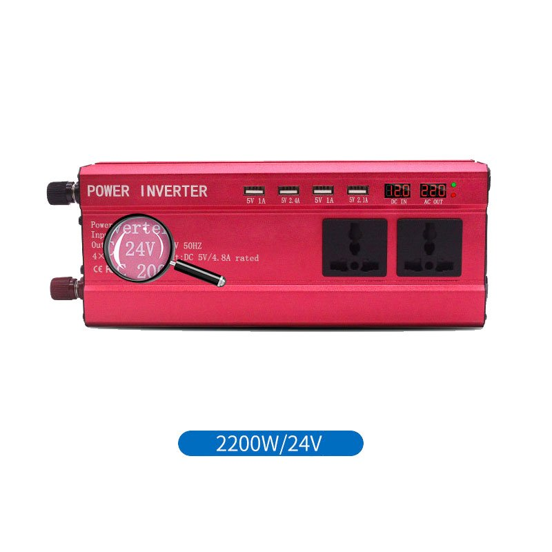 2000W Solar Car Sine Wave Inverter 4.8A 4 USB Interface LED DC12V to AC220V Converter 2200W/24V