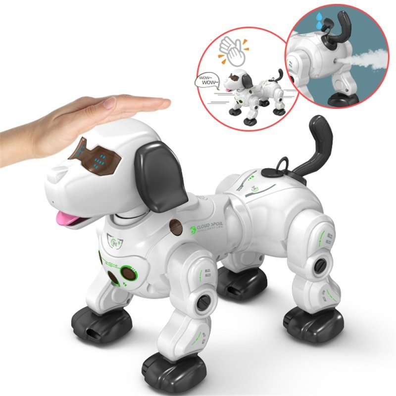 2020 777-602S New Remote Control Smart Robot Dog 2.4G Wireless Kids Toy Intelligent Talking Robot Dog Electronic Pet kid Gift White