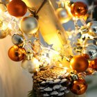 20LEDs 2M Orange Yellow Gold Round Ball Bell Christmas String Light for Home Party Decor Warm White Battery
