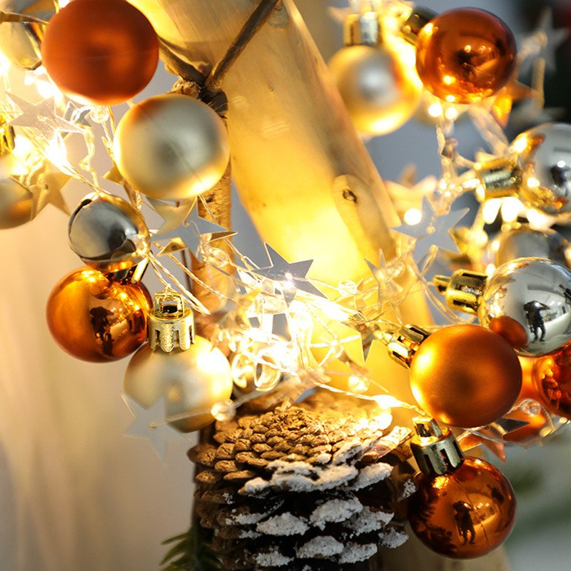 20LEDs 2M Orange Yellow Gold Round Ball Bell Christmas String Light for Home Party Decor Warm White_Battery