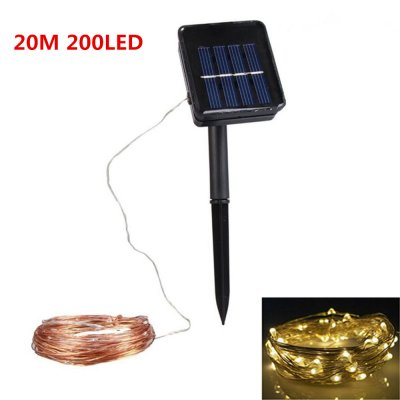 20M Solar Powered Copper Wire String Light