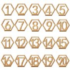 20PCS Cute Wooden Hollow out Number 1 20 Hexagon Table Cards Reception Seat Card for Party Event Organizing Decorating
